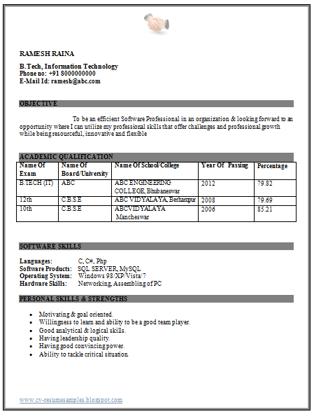 over 10000 cv and resume samples with free download  it engineer fresher resume