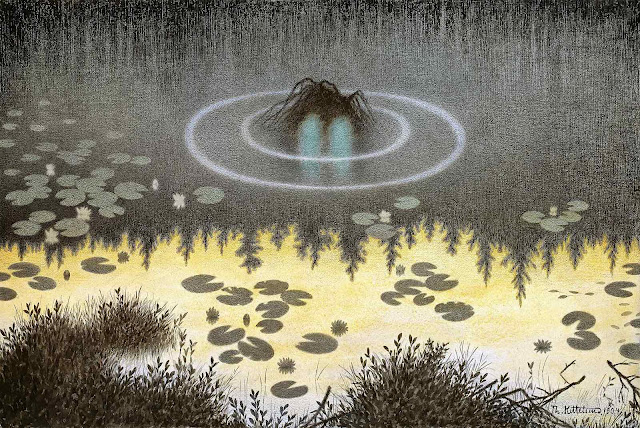 a Theodor Kittelsen book illustration of a monster lurking in a pond