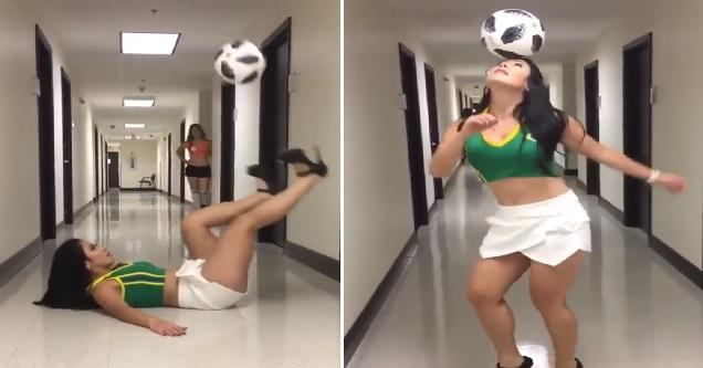 Brazilian Cutie Shows Off Her Impressive Ball Handling Skills #Video