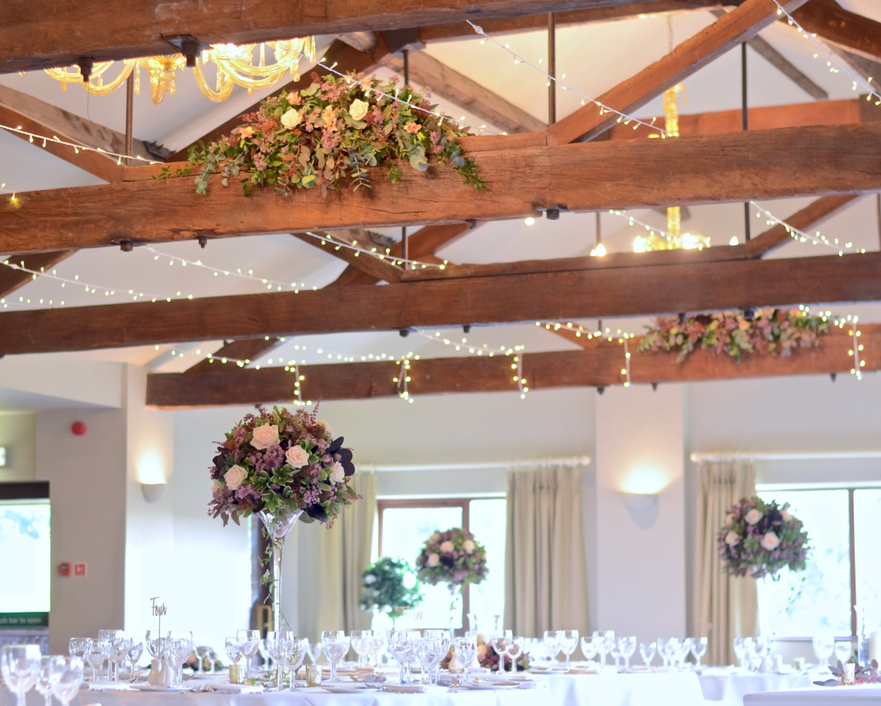 Wedding flowers blog east horton golf club all set up for jos wedding breakfast with autumnal high and low centrepieces and co ordinating long and low trailing designs on the junglespirit Choice Image