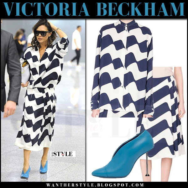 Victoria Beckham in wave print blue and white shirt and skirt what she wore may 15 2017