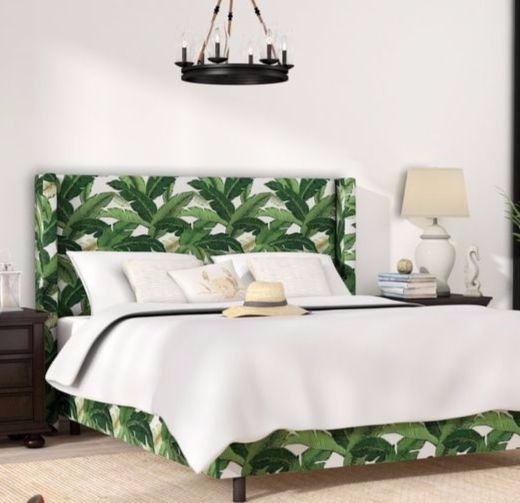 Upholstered Palm Leaf Bed