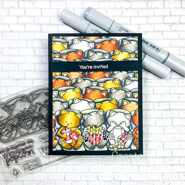 Cats at the moives Card by June Guest Designer Courtney Kreeber | Newton's Movie Night Stamp Set by Newton's Nook Designs #newtonsnook #handmade
