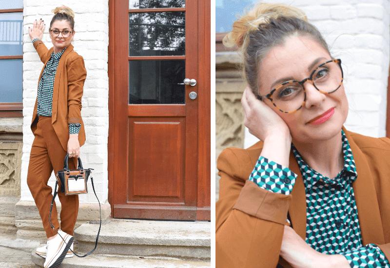 Lässiges Büro Outfit mit Anzung und Sneaker für Frauen