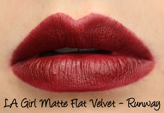 LA Girl Matte Flat Velvet Lipstick - Runway Swatches & Review