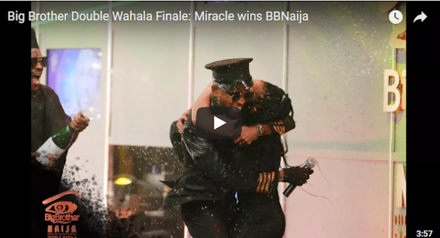 Did you miss it? Watch moment Miracle was announced winner of #BBNaija Double Wahala (VIDEO)