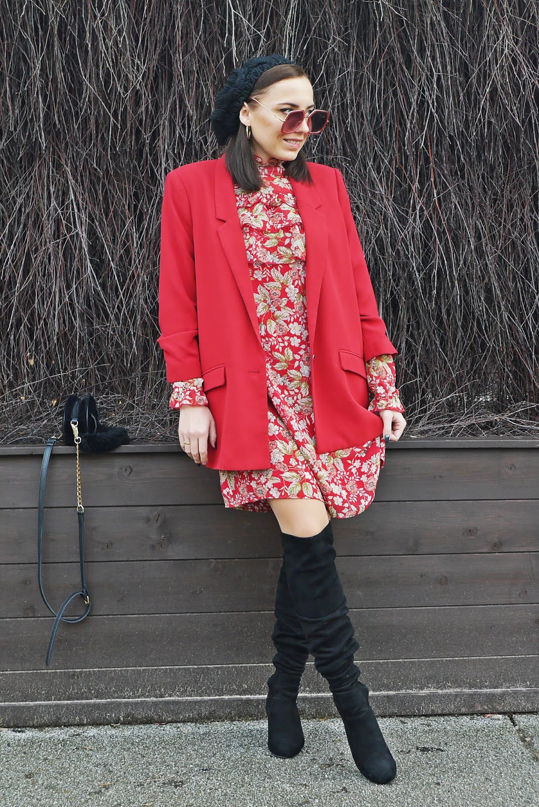 floral dress bonprix red jacket black high knee boots renee karyn fashion blogger