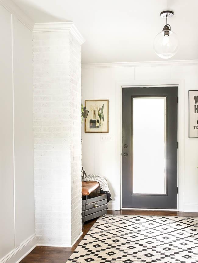 white painted brick chimney