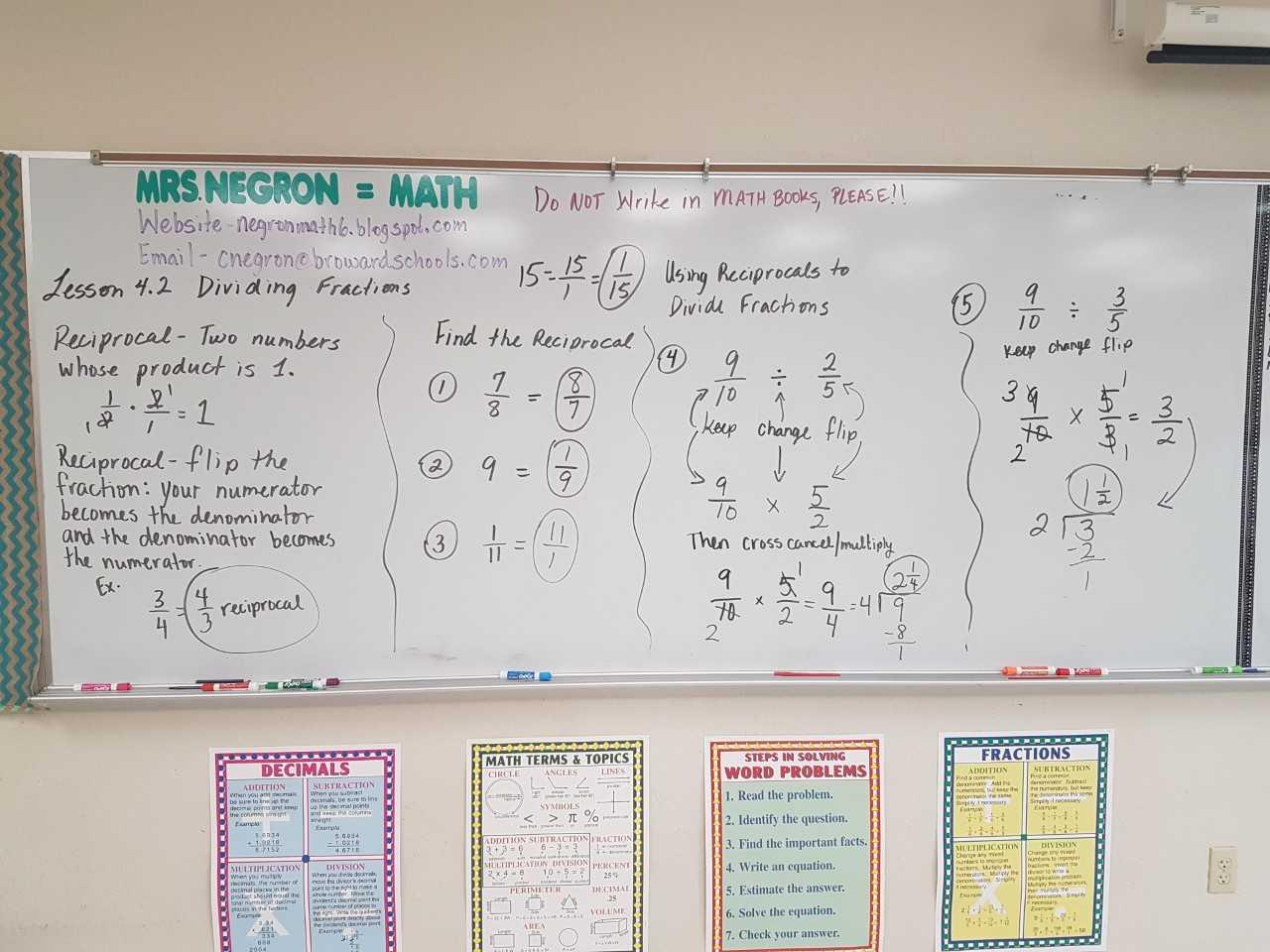 Mrs Negron 6th Grade Math Class Lesson 4 2 Dividing Fractions