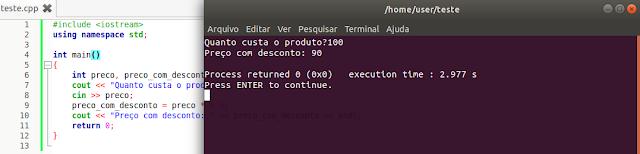 Exemplo de código e software em C++