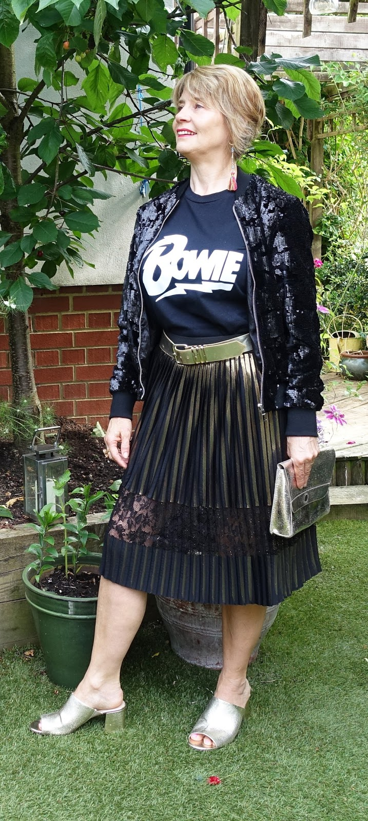 Wearing black and gold in the 5 Over 50 Challenge Marvellous Metallics: blogger Gail Hanlopn from Is This Mutton?