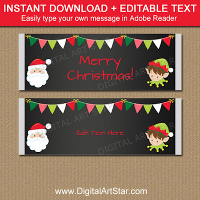 Christmas Chalkboard Candy Wrappers with Santa and Elf