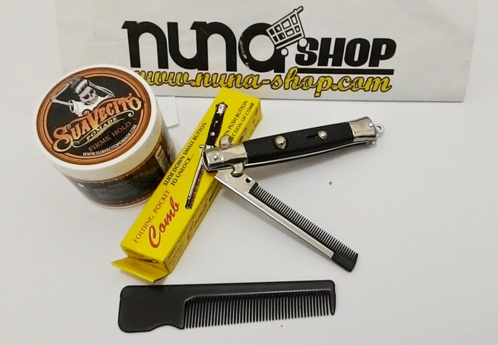 Paket Hemat Pomade Suavecito Firme Hold + Switchblade Comb
