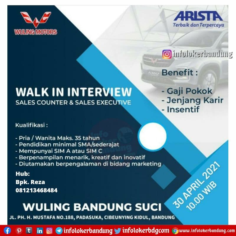 Walk In Interview Wuling Suci Bandung 30 April 2021