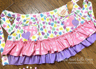 Half Apron with Two Ruffles and Appliqued Hearts on Pocket Sewn From Valentines Day Fabric by Sharon Sews