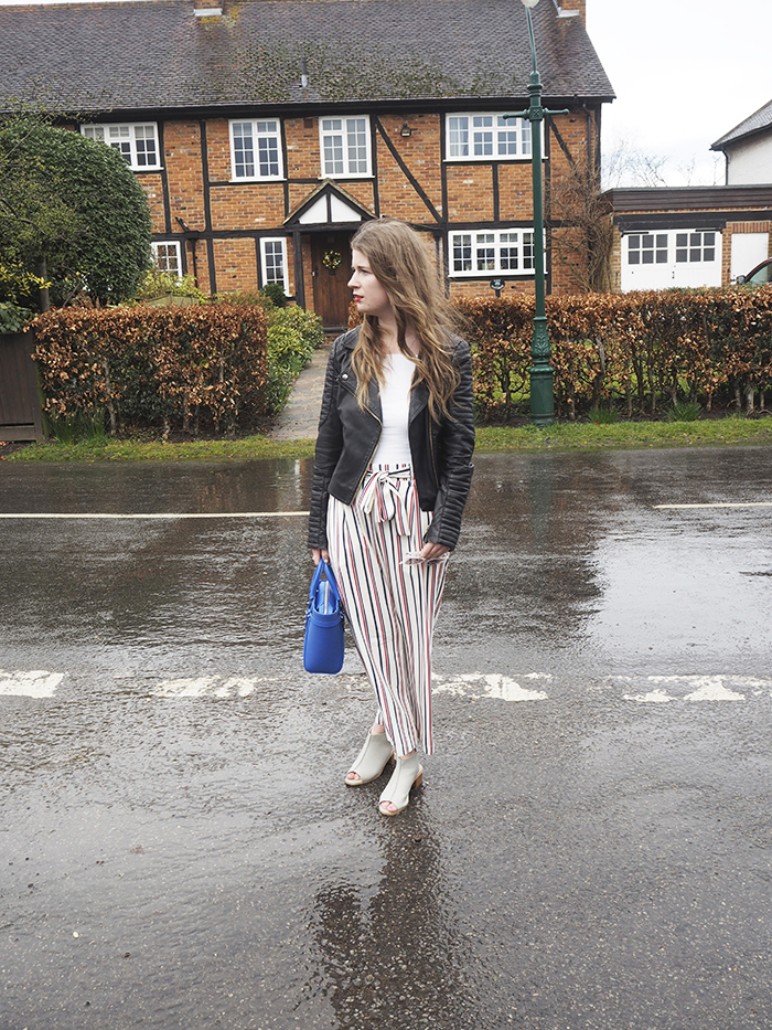 Stripe trousers zara blogger