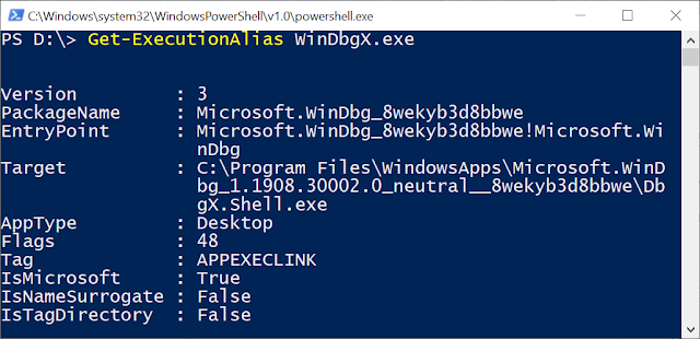 Result of executing Get-ExecutionAlias WinDbgX.exe
