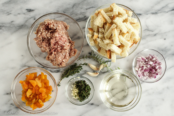 ingredients for sausage stuffed turkey breast