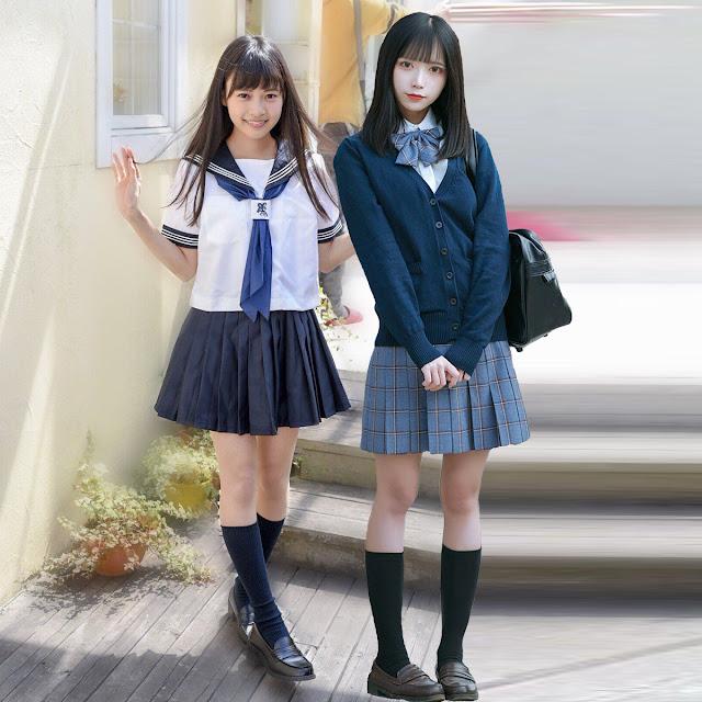 """Японская школьница в """"матроске"""" (слева, кандзи セーラー服) и японская школьница в пиджаке и плиссированной юбке (справа) [фотоколлаж]"""