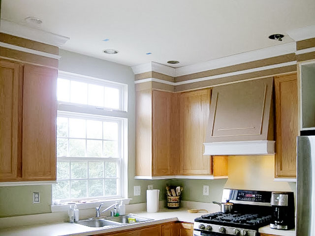 how to add moldings to existing cabinets - kitchen makeover