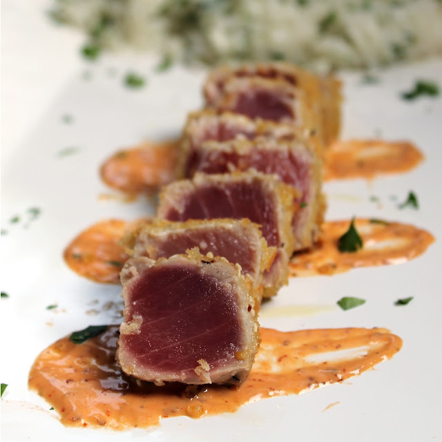Panko Crusted Ahi with Spicy Dijon Aioli