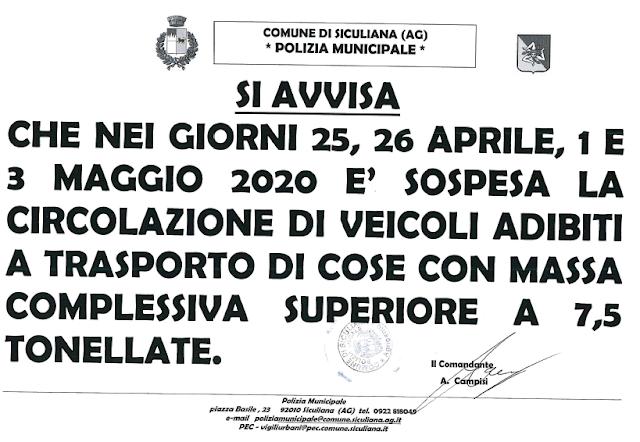 Polizia Municipale -  Avviso del 23 Aprile 2020