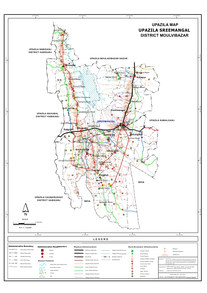Sreemangal Upazila Map Moulvibazar  District Bangladesh