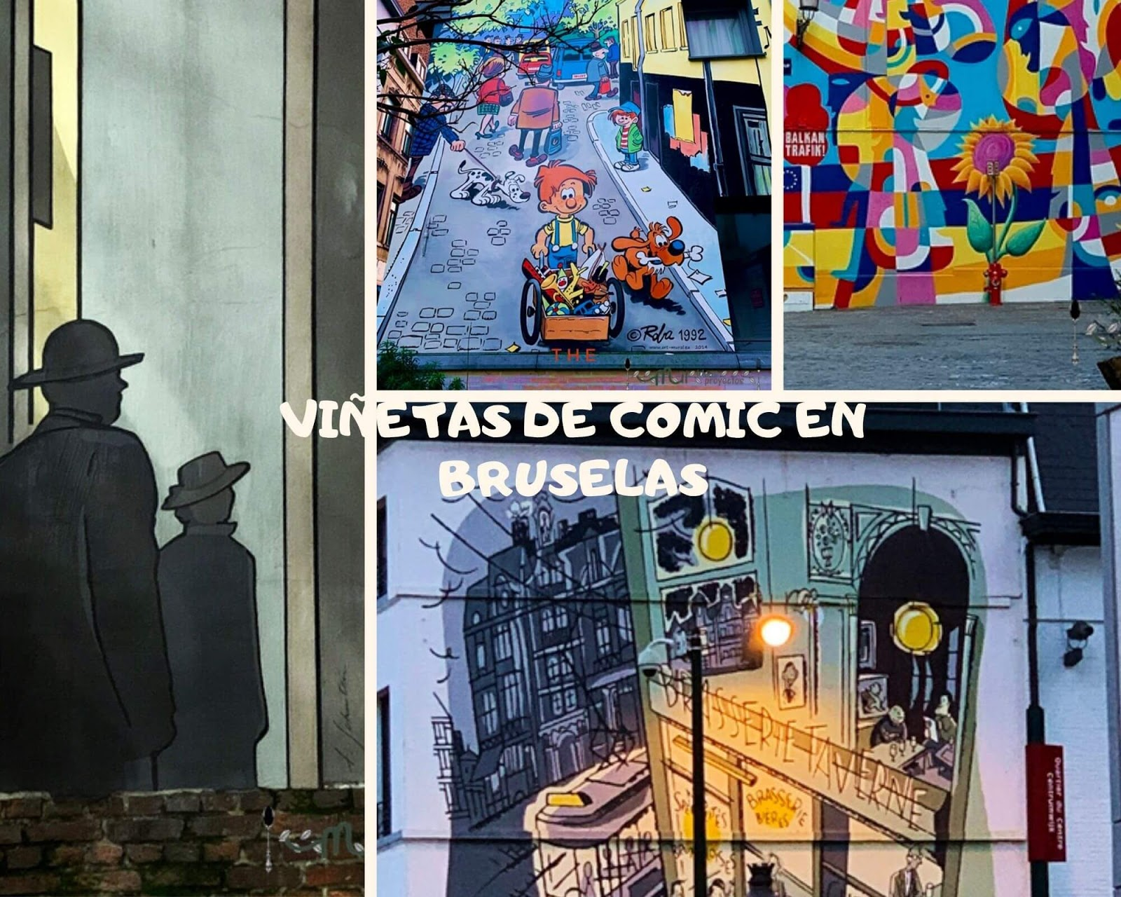 viñetas de comic en las fachadas de Bruselas