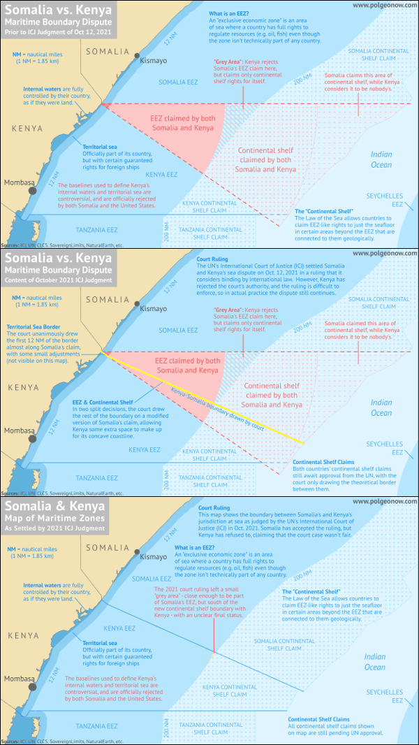 Thumbnail image combining the three maps of the Kenya-Somalia maritime dispute, showing the two countries' overlapping territorial sea, EEZ, and continental shelf claims as well as the judgement reached in the ruling of the UN's International Court of Justice (ICJ). The full-size maps are each included separately, with full alternate text, farther down on this page.