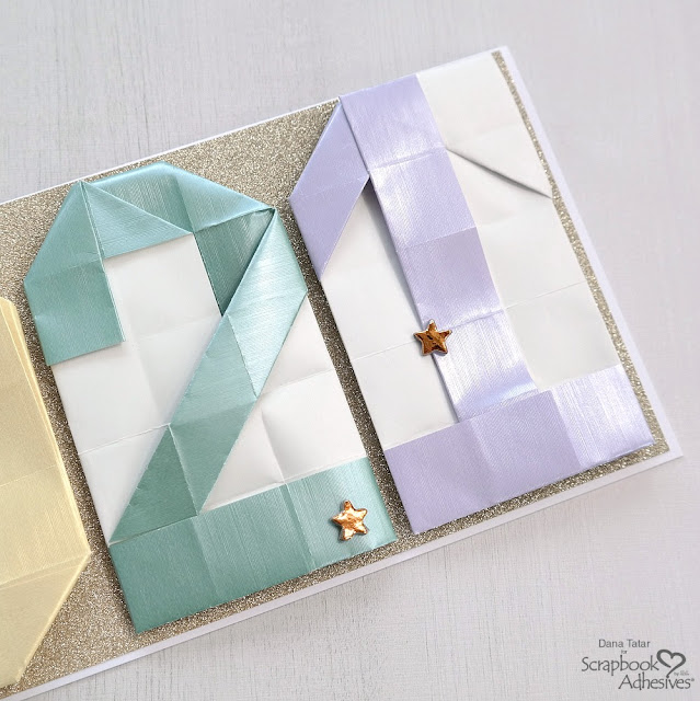 New Year Slim Line Card with Metallic Origami Numbers on Glittered Cardstock with Foiled Stars.