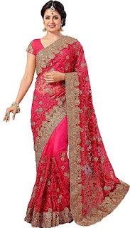 designer net sarees for wedding
