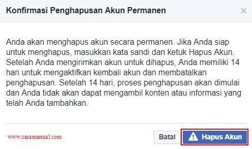 Konfirmasi Penghapusan Akun Facebook Permanen
