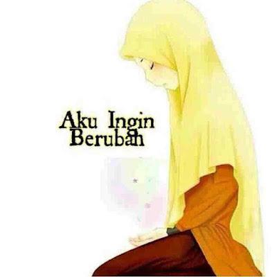 kartun muslimah sedih dan menyesal