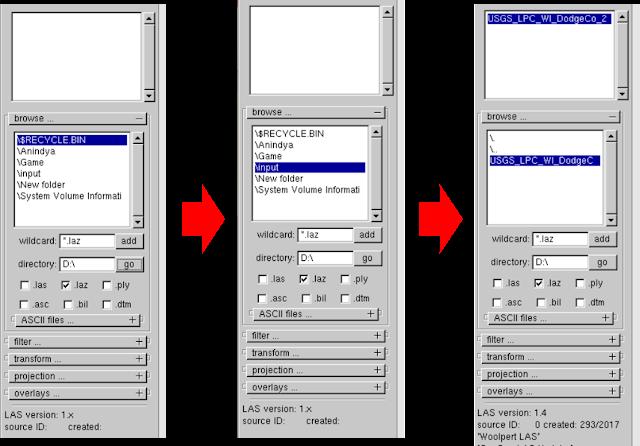 locate input LiDAR data to create shape file