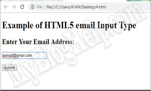 input type email