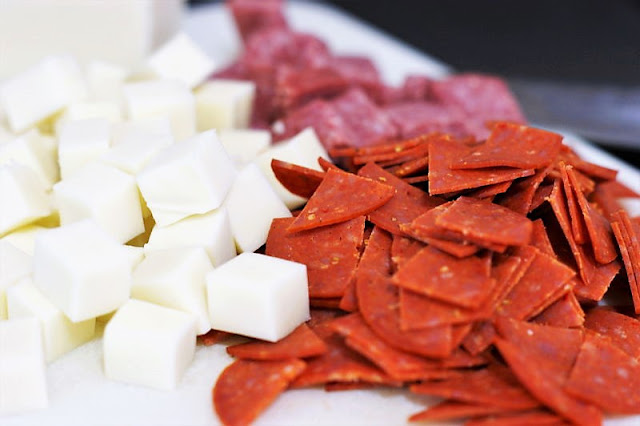 Chopped Pepperoni and Mozzarella for Antipasto Pasta Salad Image