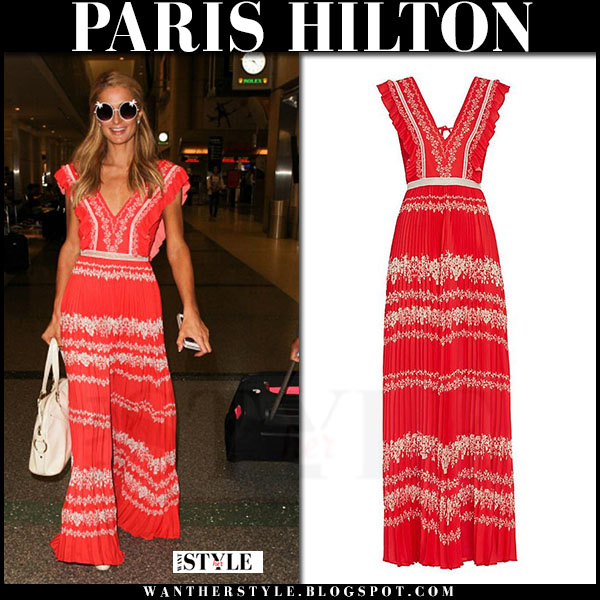 Paris Hilton in red maxi dress self portrait what she wore