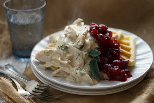 Herbed Turkey over Cornbread Waffles with Cranberry Sauce #ThanksgivingLeftovers