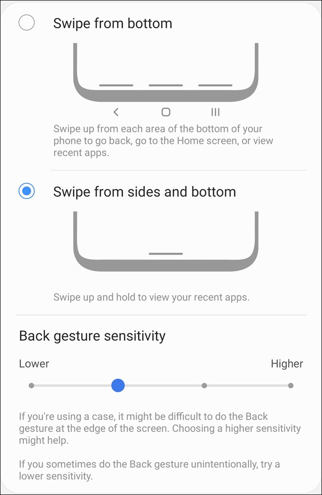 Samsung Galaxy S20 حدد أنواع الإيماءات والإعدادات المخصصة