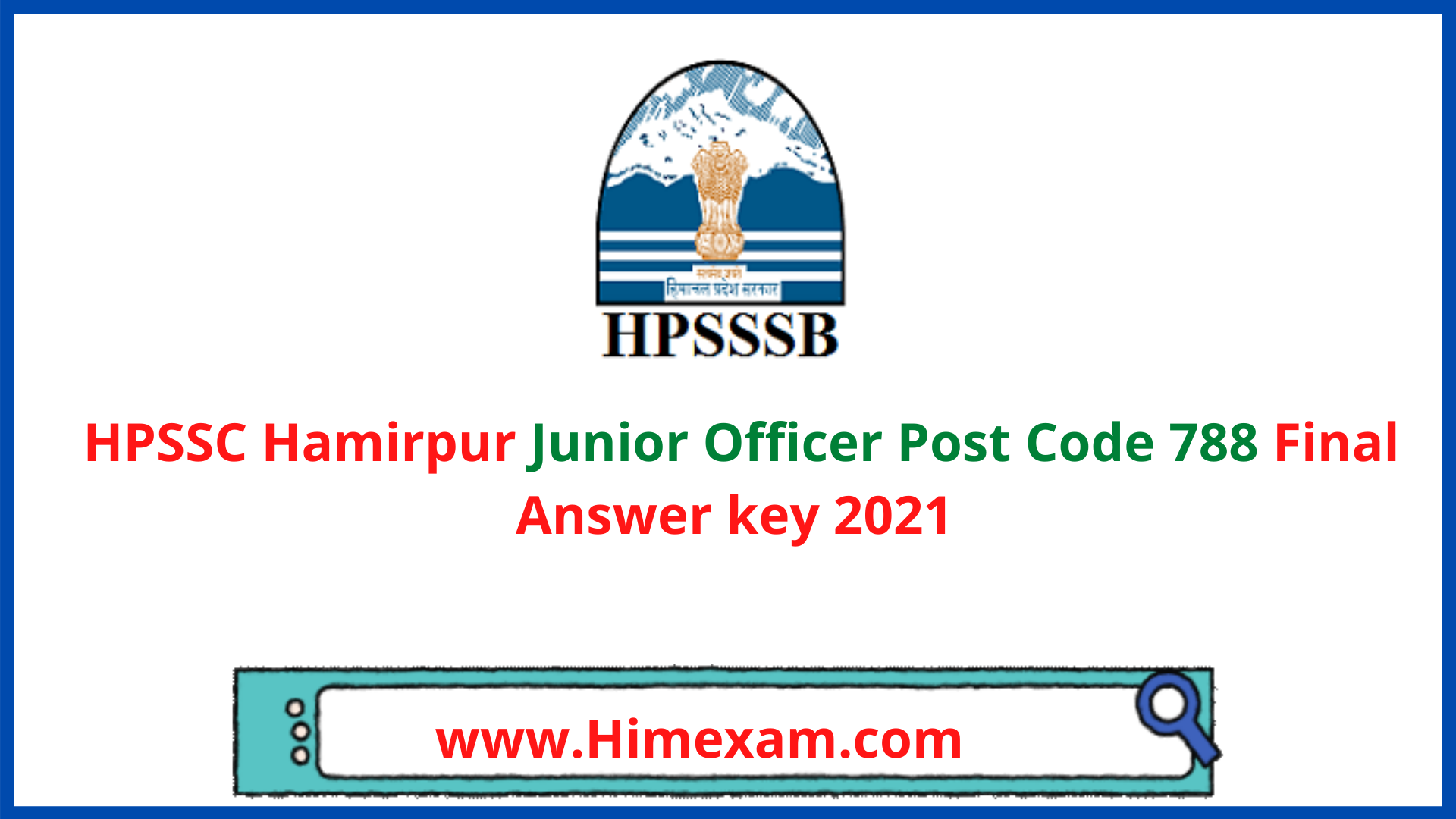 HPSSC Hamirpur Junior Officer Post Code 788 Final Answer key 2021