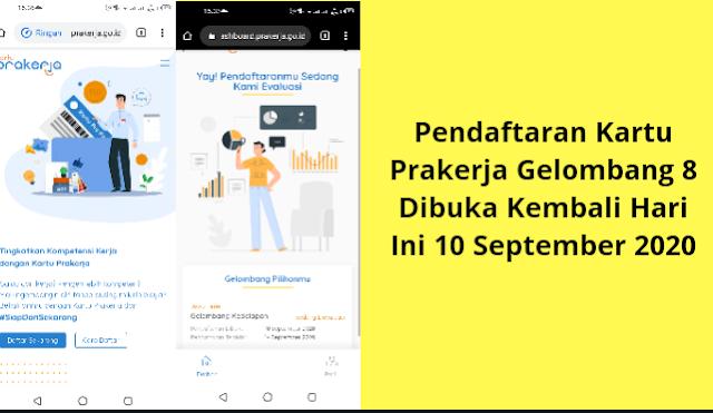Pendaftaran Kartu Prakerja Gelombang 8 Dibuka Kembali Hari Ini 10 September 2020