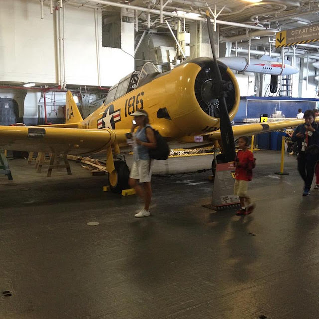 SNJ Trainer at USS Midway