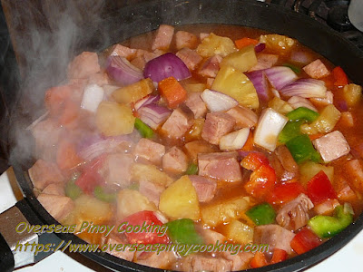 Sweet and Sour Ham with Pineapple - Cooking Procedure