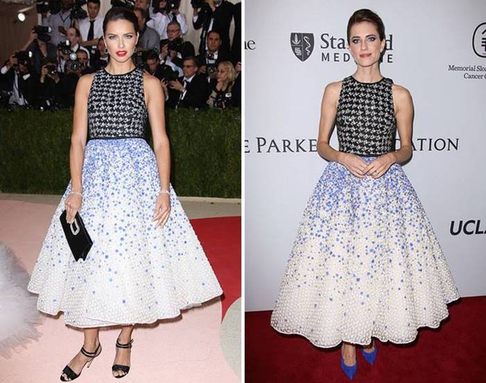 "Giambattista Valli dress looks feminine , elegant and modern at the same time - thanks to the combination of the classic new look silhouette and a mix of prints and flowers. Adriana supplemented him with black shoes and the same clutch , and Alison decided to "" support"" the bright blotches in the outfit , wearing bright blue boats to him."