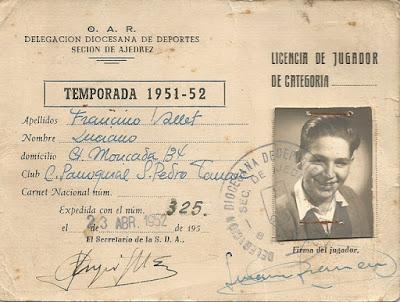 Licencia de jugador de Lucien Francino, temporada 1951-52
