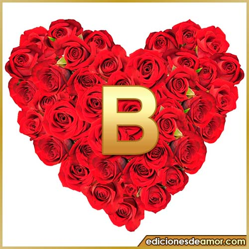 corazón de rosas con letra B