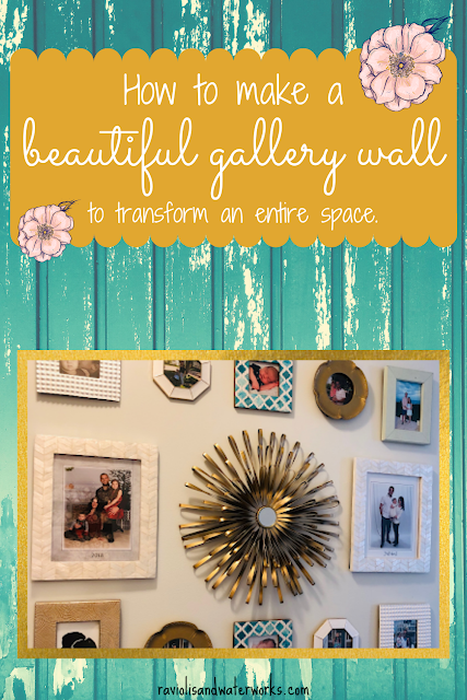 modern gallery wall; contemporary gallery wall; contemporary decor; gold gallery wall decor; gold and teal decor ideas