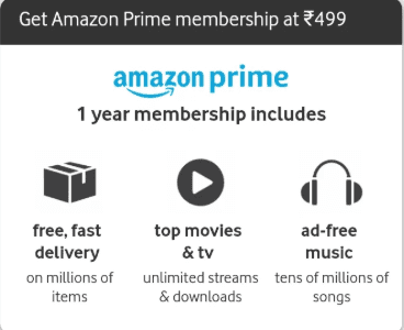 Amazon youth offer- Get Amazon prime membership for 1 year in just Rs 499