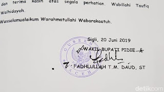 Soal Stempel Gubernur Aceh, Wabup Pidie: Akan Diusut Tuntas