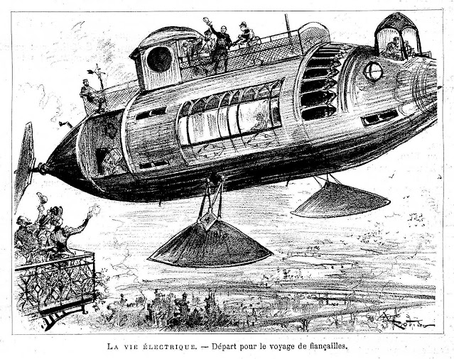 Albert Robida 1883, a flying machine, retrofuture